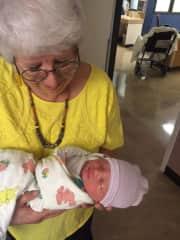 Sue with new grandson, Quinton