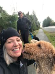 Audra with Kona, Greg with Guinness Housesit Anmore BC