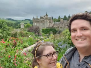 Tom and I at Abbotsford, the Scottish author home of Sir Walter Scott.
