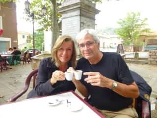 Lynn and David: coffee in France.