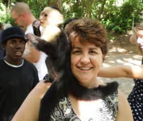 Linda and a monkey in Roatan