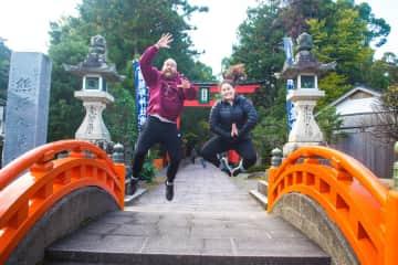 Chris and Richelle finishing their 170 km hike through the Japanese Mountains along the Kumano Kodo Iseji pilgrimage route!
