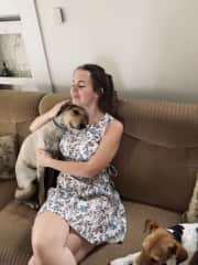 I would consider myself to be more of a cat-person, however I also enjoy dogs' company (they seem to be also enjoying mine, as seen in the photo).