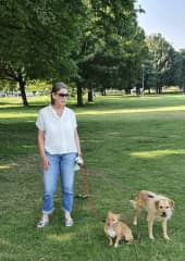 A walk on Clapham Common with Lucy and Teddy.