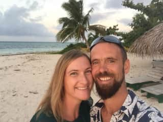 Laura and David on the island we managed in Tonga