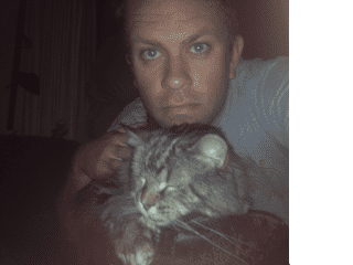 Me with one of my parents' cats, Boxer