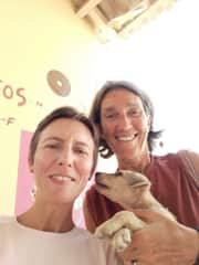 Francesca and Alessandra with Lucky at Mindelo dog shelter, Cape Verde