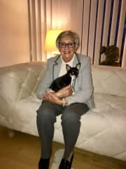my grandma Julianne with our Chihuahua Louis