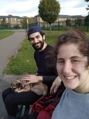 Mariana and Santiago with Pepper in one of the last year's house-sit