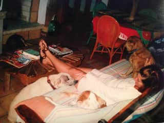 Sharing the love with White Dog, Jack and Pupper in the Bahamas (2004)
