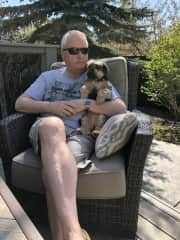 Enjoying a nice afternoon on the back deck.
