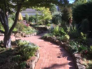 Walkway through garden in front of house