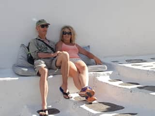 Pete and I relaxing in Greece