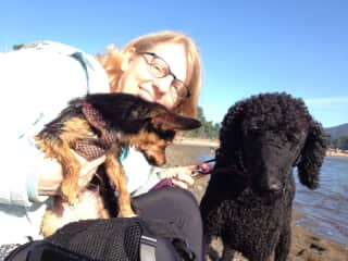 Pamela with my two dogs, Jojo and Annie