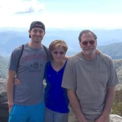 Hiking in Asheville, NC with my son & husband