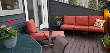 Comfortable deck for reading, eating and just enjoying the cool mountain air!