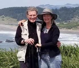 Terah and Brian hiking the beach