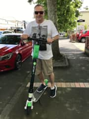 Dan with Lime scooter in Auckland, New Zealand