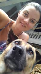 With Ika, a rescue dog, Bali