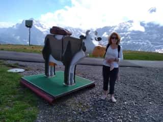 On a Swiss mountain top near Wengen after a lengthy hike.