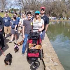 Dina, Ed, Beau and pups at Charlotte Weenie Walk