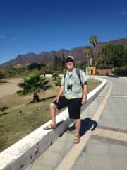 Mike birding on the malecon in Ajijic, Mexico