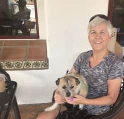 Marlene with Kloe at coffee shop outside CA desert community