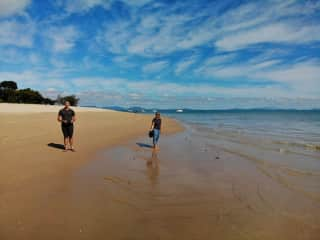 Beach walking and Chris using his drone