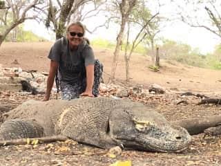Susan with Komodo dragon ha ha