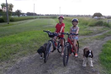 Aidan, Holly, our dog Jaffa and her friend