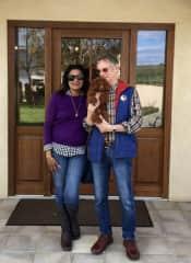 Loretta & Brian with a friend's gorgeous poodle...