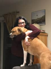 Jen and Avi. She loves caring for big dogs with goofy personalities.