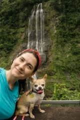 Taking Holly on a trek: we look after her in Taiwan for one month and will come back for her this year! :)