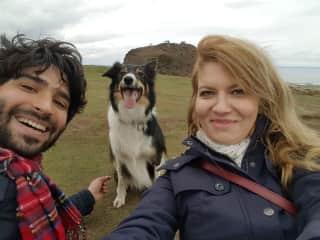 Alina, Alex and Pepper on Arthur's Seat in Edinburgh