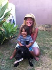 My dog Buddie Ollie me and Harrison my grandson
