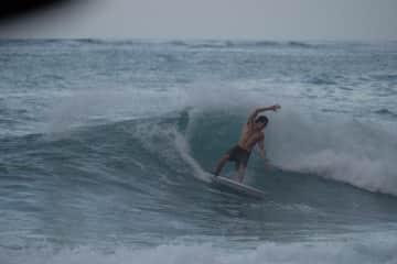 Jose surfing at Manzanillo, Puerto Viejo