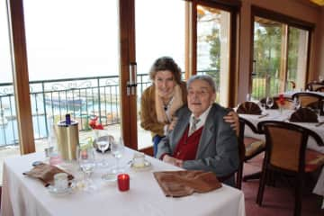 With my late father in France, for his 93rd birthday