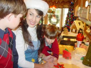 Making Christmas cookies with my God sons