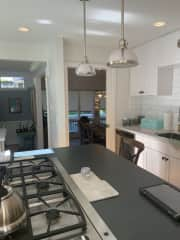 Kitchen with gas range, 2 sinks, 2 ovens, 2 dishwashers. Great for cooking