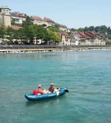 My brother and myselfe on the Aare by Bern Switzerland