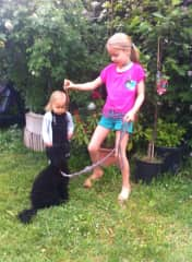 Ivy May and Ellie training Lou, my sister's toy poodle, in our garden!