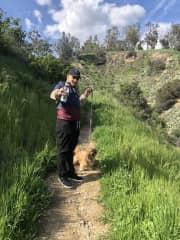 Sixx hiking with Scooby