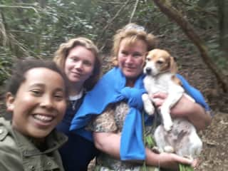 Michelle and me with a pet dog