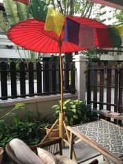 Patio area with umbrella
