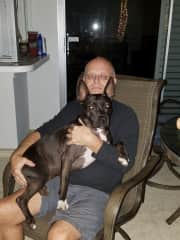 Jim with one of our foster dogs Breezy.