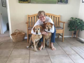 Kathy with Annie and Oakley on their birthday!