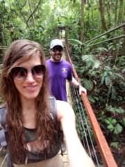 James and Stephanie enjoying a leisurely hike in the jungle. O Wimba Wop!