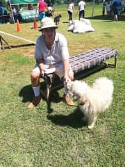 Tim with Ziggy in the Shaggy Dog Show in aid of the KSPCA. Tim was compering the show!!