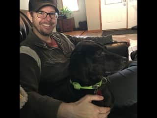Me and Lucas hanging on a recent house and pet sit.  He took time to warm up, but when I left he loved going on hikes and actually grinned at me.  Not often dogs can do this.  It was pure gold for me to see.
