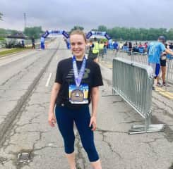 After I finished my first half marathon in my hometown of Fishers, Indiana.